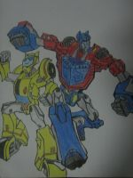 OPTIMUS PRIME AND BUMBLEBEE by shithlord