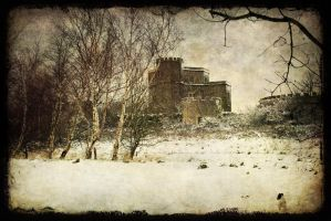 Walton castle with snow by katmary