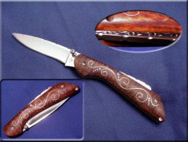 Curly Maple Drop Point Folder by CrystalBlood07