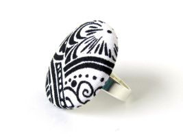 Large black white button ring damask unique by KooKooCraft