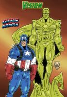 Captain America and Vision by violencejack666