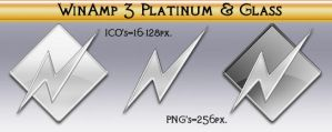 WinAmp 3 Platinum and Glass by Steve-Smith