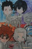 KHR Chibi boys with Family Vongola rings by Bluedragoncartoon