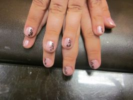 Pink with Black Swirls by sharpnailart