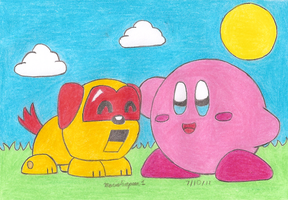 Kirby and His Pet Robot by MarioSimpson1