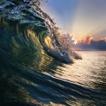 Ocean breaking surfing wave closing by Vitaly-Sokol