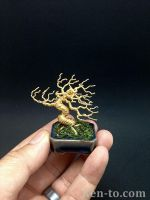 A gold windswept wire bonsai tree by Ken To by KenToArt
