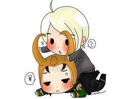 Chibi Draco with Loki~ by Cremebunny