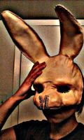 Leather bunny mask WIP by ParkersandQuinn