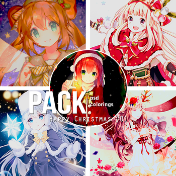 Pack PSD Colorings Happy Christmas {#01} by Galaxhia