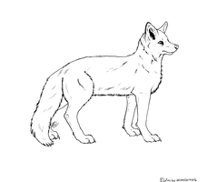 Free Fox Lineart by animalartist16