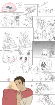APH CanadaEgypt doodles by Nire-chan