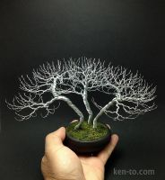 Huge 3 tree wire bonsai tree group by Ken To by KenToArt