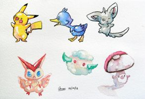 Watercolor Pokemon by ChiakiNeko