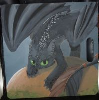 Toothless_HTTYD_Drawing Board Painting -CRITIQUE- by Akiri-chann