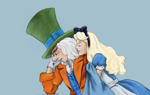 Hatter and Alice colored by xssithi