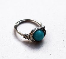 Wire Amazon Stone Ring - M by Clerdy