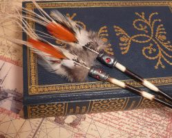 Feathered Porcupine Quill Hairsticks by shadowling