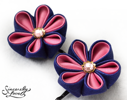 Indigo Pink Kanzashi by SincerelyLove