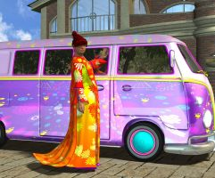 The Hippie with her van by LuckyLilith