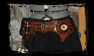 leather belt utility steampunk pirate by Lagueuse