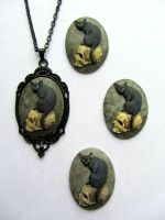 Hand Painted Black Cat Cameo Necklace by PaintIt13lack