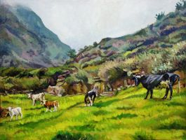 Arahuay landscape with cows by rehash435
