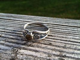 Vintage inspired silver ring with lemon quartz by whippetgirl