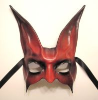Leather Rabbit Mask in Red and Black by teonova
