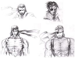 Metal Gear- Snake Sketches by TricksyPixel