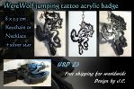 Werewolf jumping tattoo acrylic badge by J-C