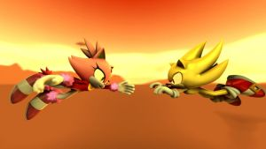 Super Sonic And Burning Blaze by DarkNigth98