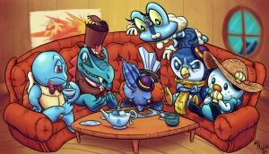 Speedy Commission - Aqua Tea Party, Plus Froakie by WideMouthInk