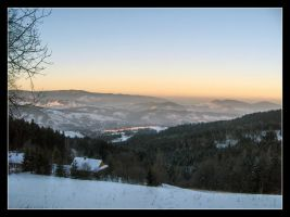 Winter sunset in the mountains by 99-in-the-shade