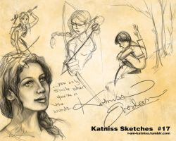 Hunger Games - Katniss Sketches - no.17 by lizzomarek
