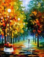 Fall park oil painting on canvas by Leonid Afremov by Leonidafremov