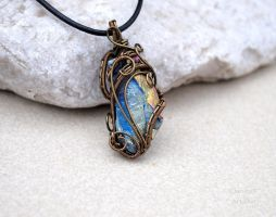 Freeform multicolor crystal wire wrapped pendant by IanirasArtifacts