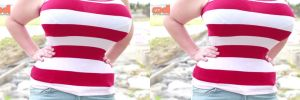 3d Busty BBW Penny Brown Underbust Red and White by 3dpinup