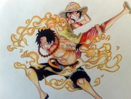 Ace and Luffy by DisegniJohn