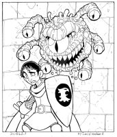 Inktober Day 12: Worried: Eric and the Beholder by badgerlordstudios