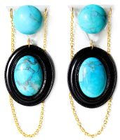 Turquoise Stone and Acrylic Earrings by asunder