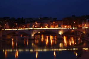 Rome Bridge at night 2 by downloader47