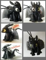 Japanese Toothless Phone charm by Key-Feathers