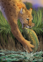 Fishing Sabercat by graphiteforlunch