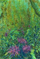Dahlias in the forest by AldemButcher