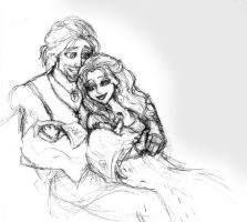 Loki and Sigyn with newborn Vali and Narvi by MademoiselleMeg