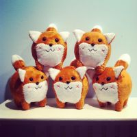Pudgie Red Fox Plushies by WhimzicalWhizkerz