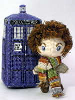 Tiny 4th Doctor Cross Stitch Doll by rhaben