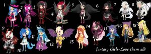 Fantasy Girls Adoptables TTA CLOSED+ by AdoptableSoulxHeart