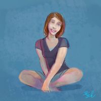 Sitting girl sketch by gmcube